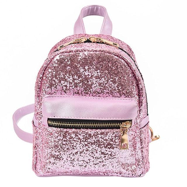 Fashion Women PU Leather Bling Backpack Mini Small Bag Sequins School Bags  For Teenagers Girls Ladies f40841e1b332b