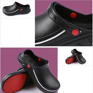 Image 4 - EVA zapatos de trabajo de cocina antideslizantes, impermeables, a prueba de aceite, para Chef, Master Cook, Hotel, restaurante, zapatillas Sandalias planas