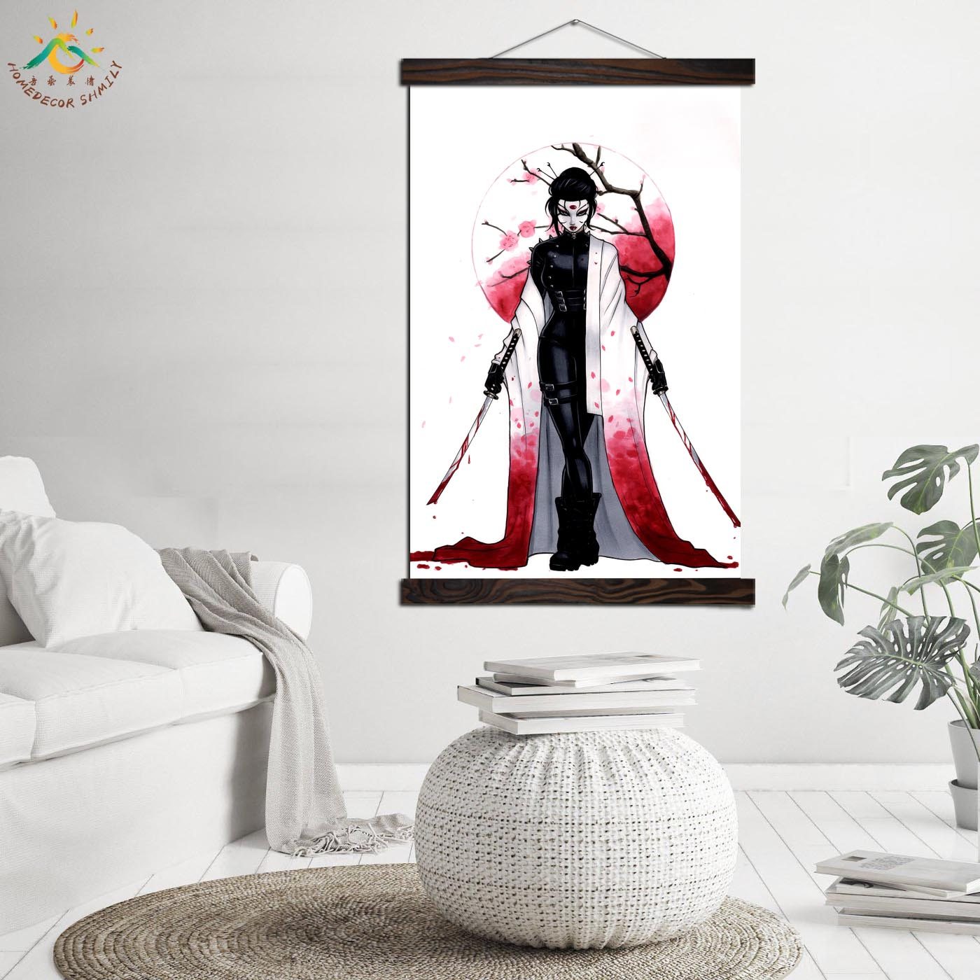 Japan Kabuki Warrior Wall Art Canvas Prints Painting Frame Scroll Painting Poster Decorative Picture Art Print Wall Poster in Painting Calligraphy from Home Garden