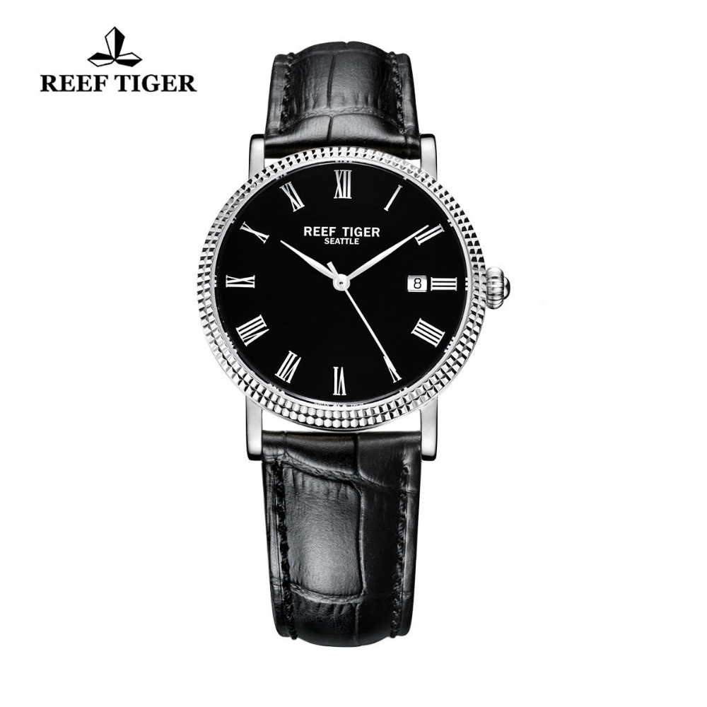 Reef Tiger/RT Watches Designer Dress Watches Business Watches Men Automatic Leather Strap Steel Watch with Date RGA163 reef tiger rt business men watch with date stainless steel leather strap waterproof mechanical watches rga823