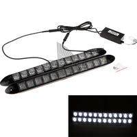 1Pair 2W 12LED Universal Auto Car Led DRL Daytime Running Light Bar DRL Driving Lamp White