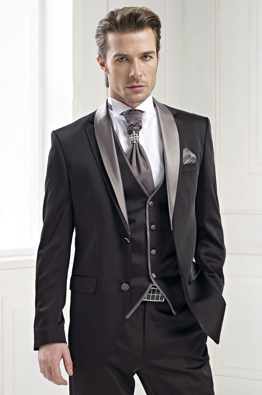 Custom Made Italian Style Black Groom Tuxedo 3 Piece Gray Lapel ...