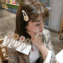 2019 New Fashion Pearl Hair Clip Women Elegant Crystal Flower Snap Barrette Stick Hairpin Hair Styling Accessories Dropshipping ubuhle fashion women full pearl hair clip girls hair barrette hairpin hair elegant design sweet hair jewelry accessories 2019