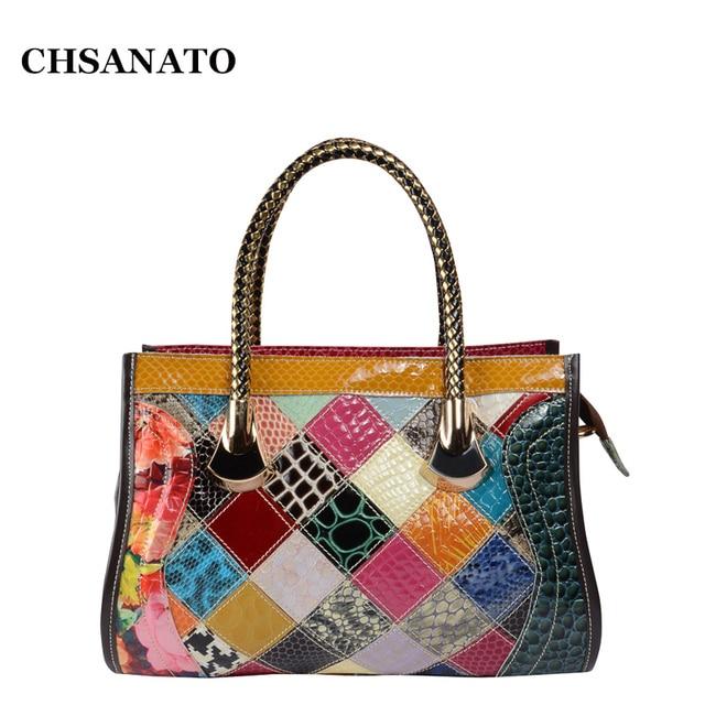 Chsanato Stylish Patent Leather Las Bags Colorful Designer Handbags High Quality Snake Print Crossbody Bag For Women Sac
