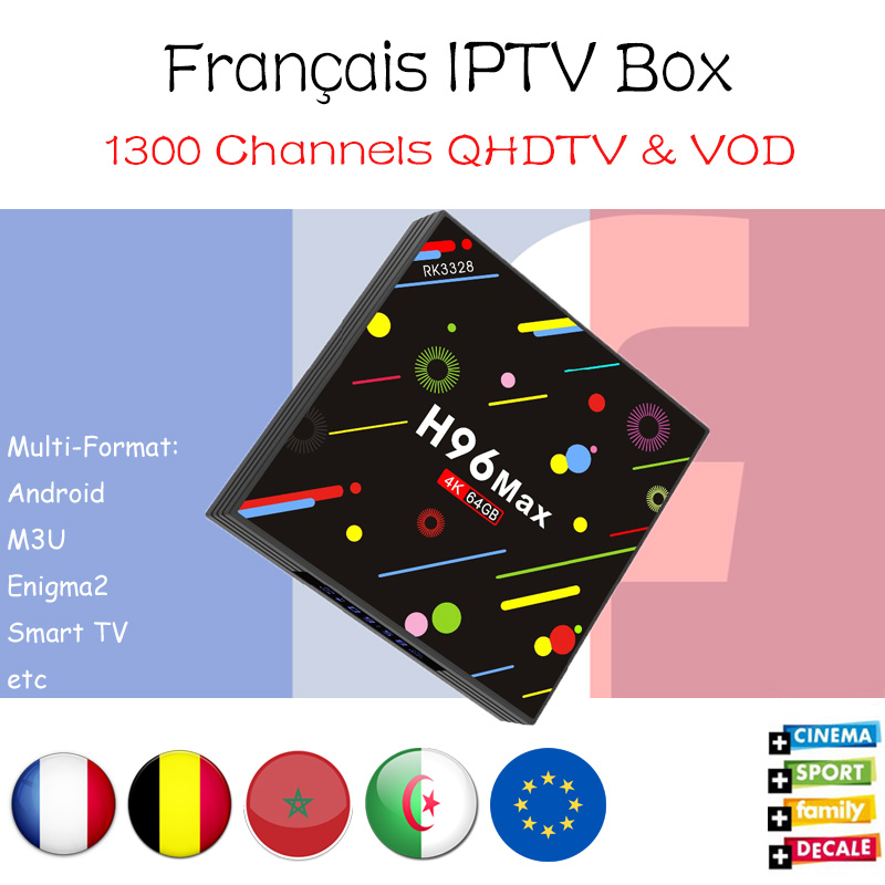 H96 MAX RK3328 4G/32G Android 7.1 tv box with 1300 Neotv 2000 VOD 4k France Arabic Belgium IPTV set top box pk ahdtv subtv