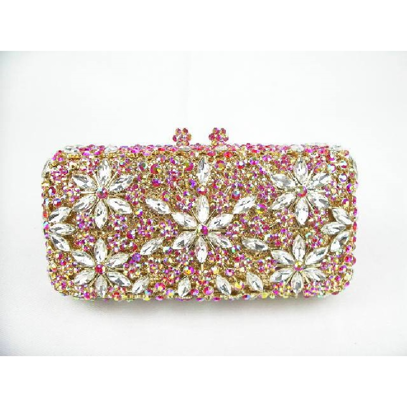 #8138 Multi-color-TE Crystal Flower Floral Lady fashion Bridal Party hollow Metal Evening purse clutch bag case box handbag