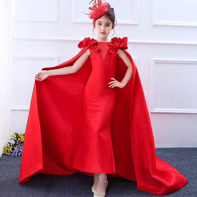 Children Performance Wear Red Wedding Gown Catwalk Dress Fairy Tail Little  Princess Mermaid Costume For Kid Cute Elegant Evening