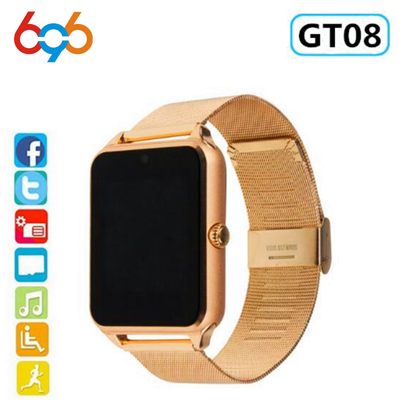 696 Smart Watch GT08 Plus Metal Strap Bluetooth Wrist Smartwatch Support Sim TF Card Android&IOS Watch Multi-languages PK S8 Z60(China)