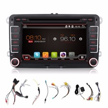 2 two din Aux gps Quad Core android 4.4 car dvd player Pc Gps Navigation Stereo Video Multimedia Capacitive Screen For VW Skoda
