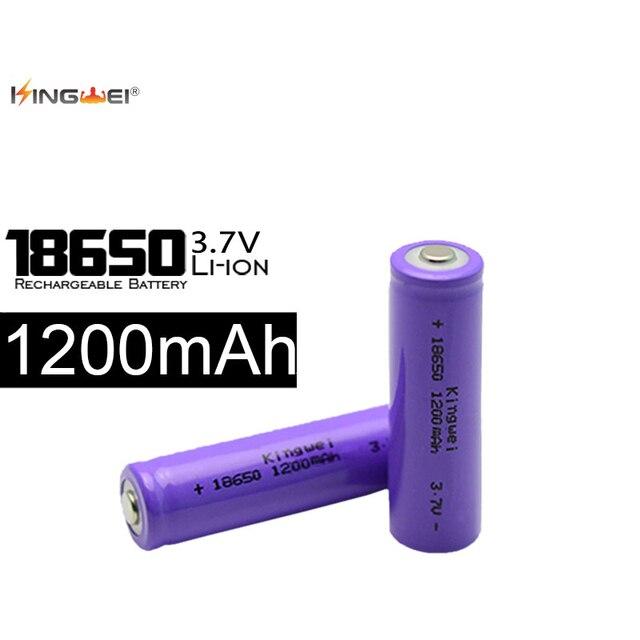 4 unids/lote kingwei púrpura 3.7 V 1200 mAh batería 18650 li-ion recargable de litio venta de la fábrica para la pluma del laser led