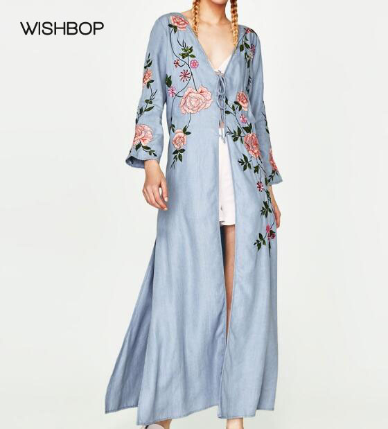 WISHBOP 2017 Fashion Blue Long Kimono Dress V-neck With Flowers Embroidered  Sequined Front belt 943d7d4fdfd0