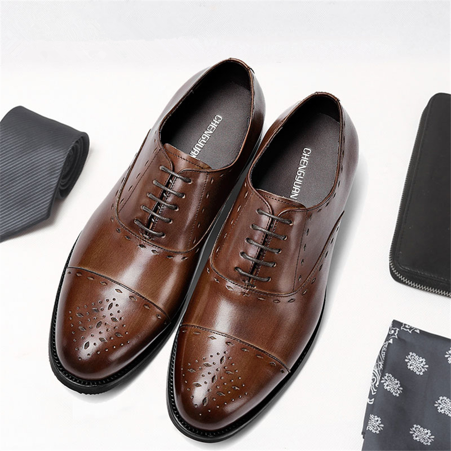 Men genuine flats leather shoes luxury business brown black lace up Dress Shoe men large size Wedding Shoes 899 dom