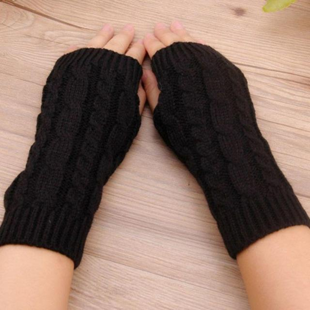Mitten Fingerless  Knit Twist Winter Warm Gloves