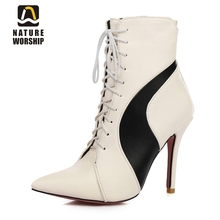 купить Big size 34-47 ladies shoes women boots High heels pointed toe Lace up Leather ankle boots woman martin boots women shoes boots в интернет-магазине