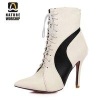 Big size 34-47 sapatas das senhoras das mulheres botas de salto Alto pontas do dedo do pé rendas até ankle boots de Couro botas de mulher martin botas botas sapatos femininos