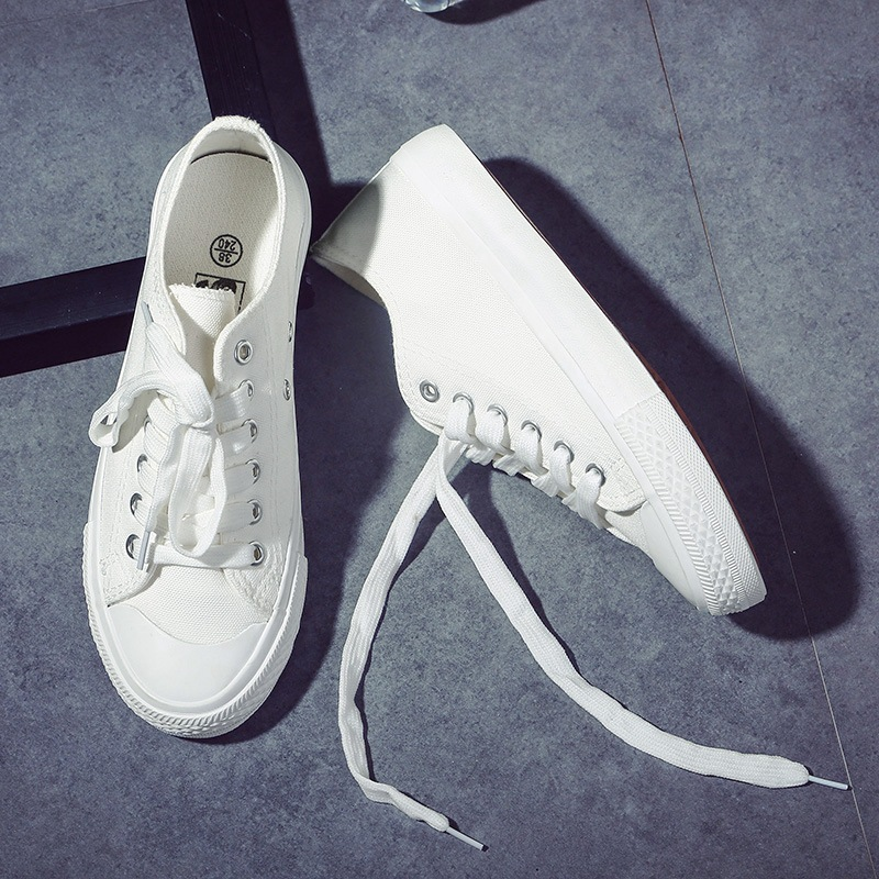 Spring Autumn New Style Women Vulcanized Solid Shoes Sneakers Ladies Lace up Casual Shoes Breathable Walking Canvas Shoes NVX31 in Women 39 s Flats from Shoes