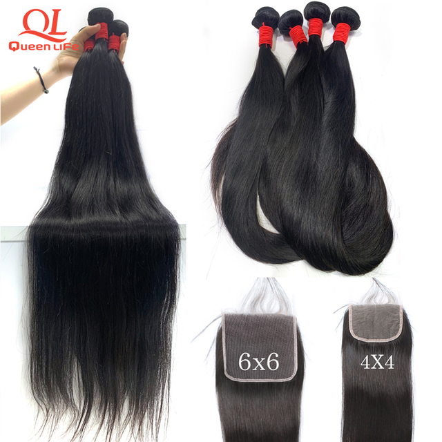 Queenlife Straight Hair Bundle with Closure Remy Human hair 30 inch brazilian hair weave 3 bundle deals with closure