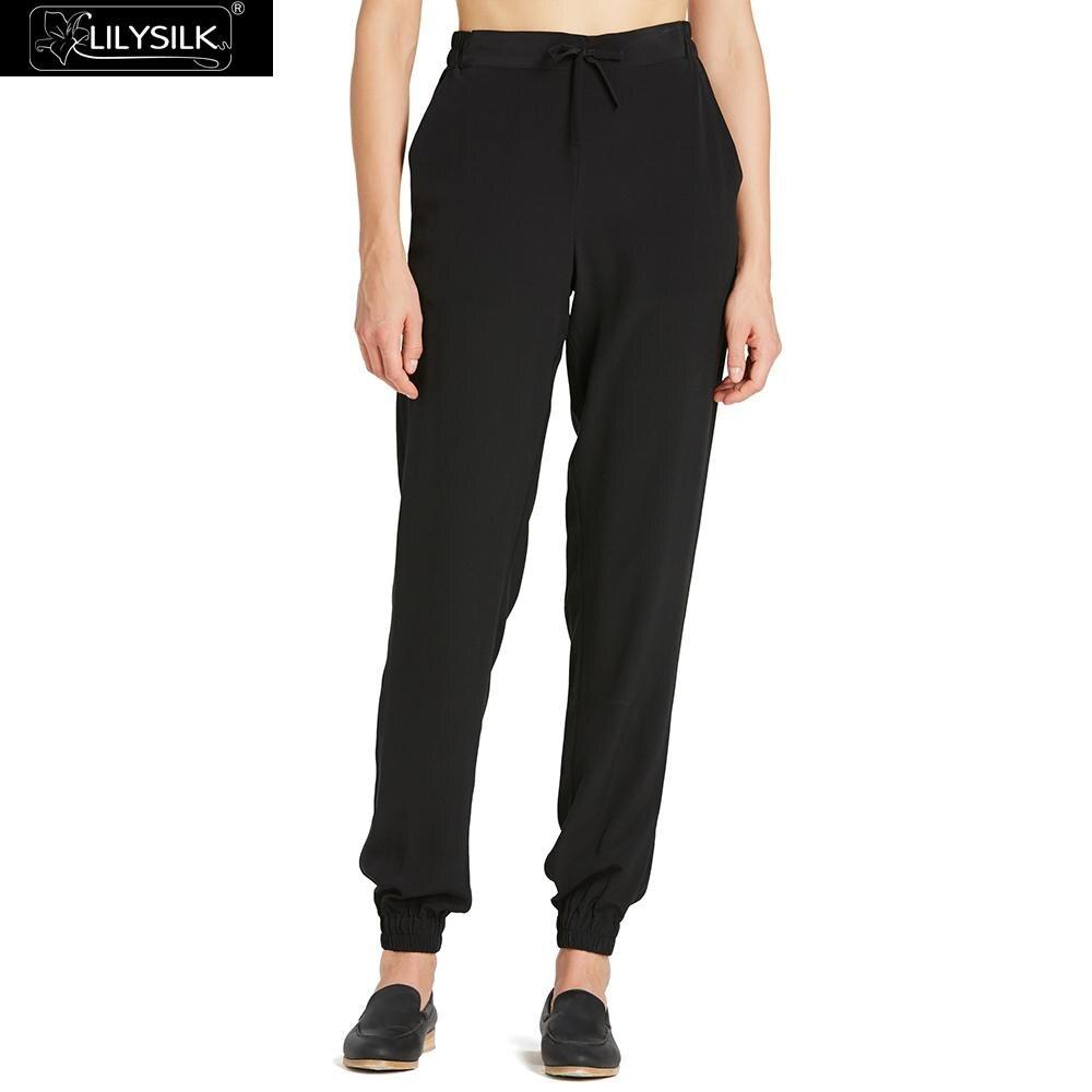 LilySilk السراويل المرأة الحرير الأسود مطاطا الخصر شحن مجاني-في السراويل والشورتات الطويلة من ملابس نسائية على  مجموعة 1