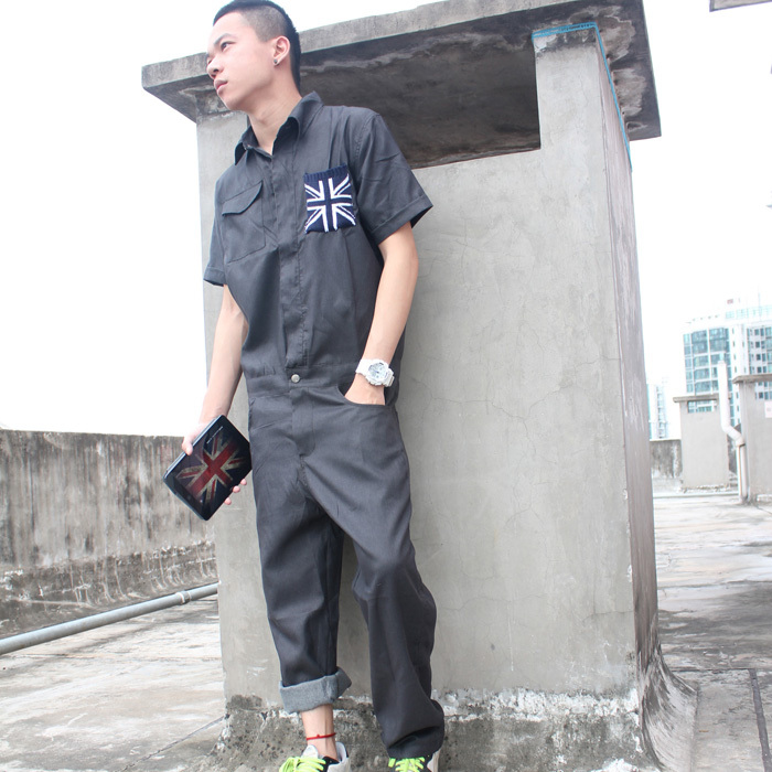 2015 men s fashion new tooling bodysuit jumpsuit coverall work wear  clothing men s j hip-hop one piece pants 0d5697e0c47