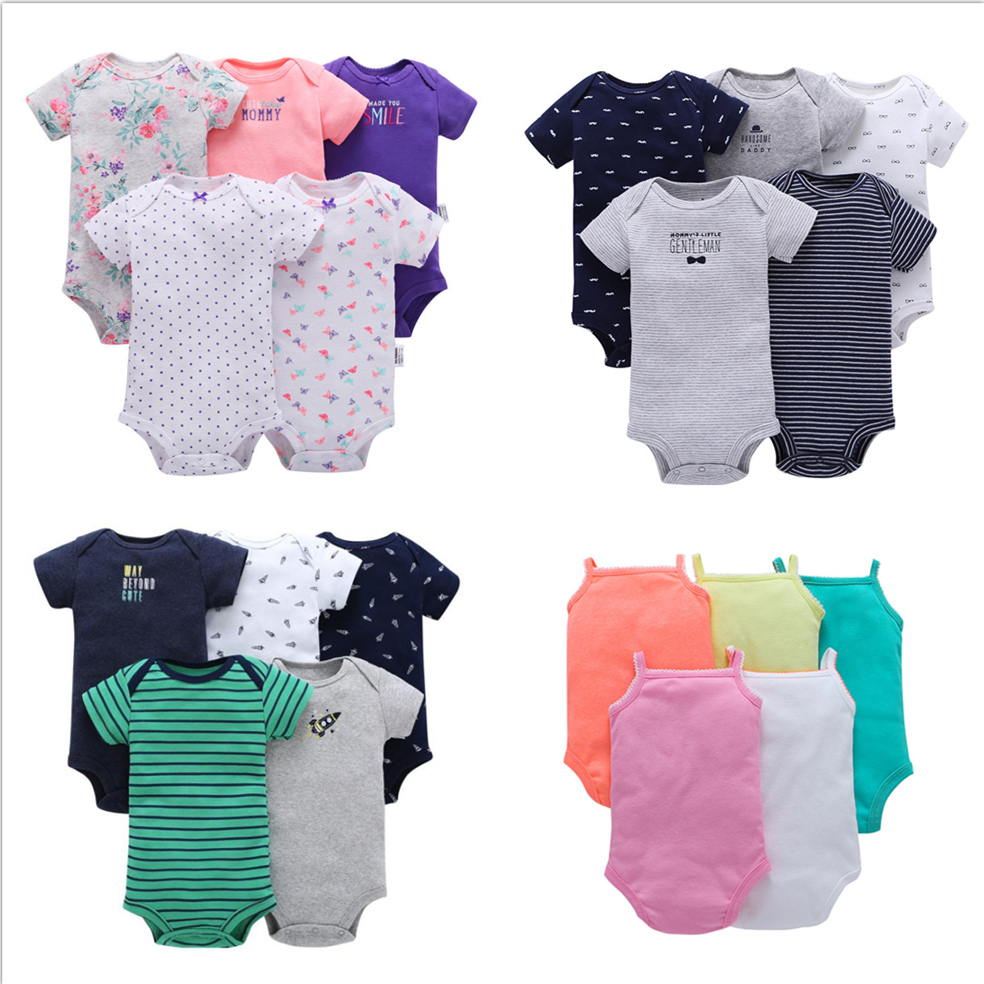 5 Piece Set Carters Design Newborn To 24M Baby Boys Girls Clothes Cotton Onesie Romper Bodysuits