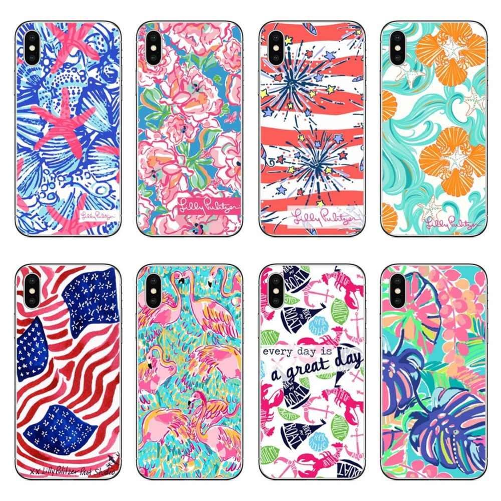 newest 94ccd 60969 Lilly Pulitzer Summer flower Pink Hard Phone Cover for iPhone 5 5S SE 6 6s  Plus 7 7Plus 8 8 Plus Phone Case for iPhone X 10