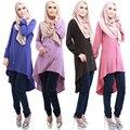 4 Colores de Moda Vestido Abaya Musulmán Ropa Islámica para Mujeres Turco Árabe Robes Indonesia Manga Larga Musulmán Abayas