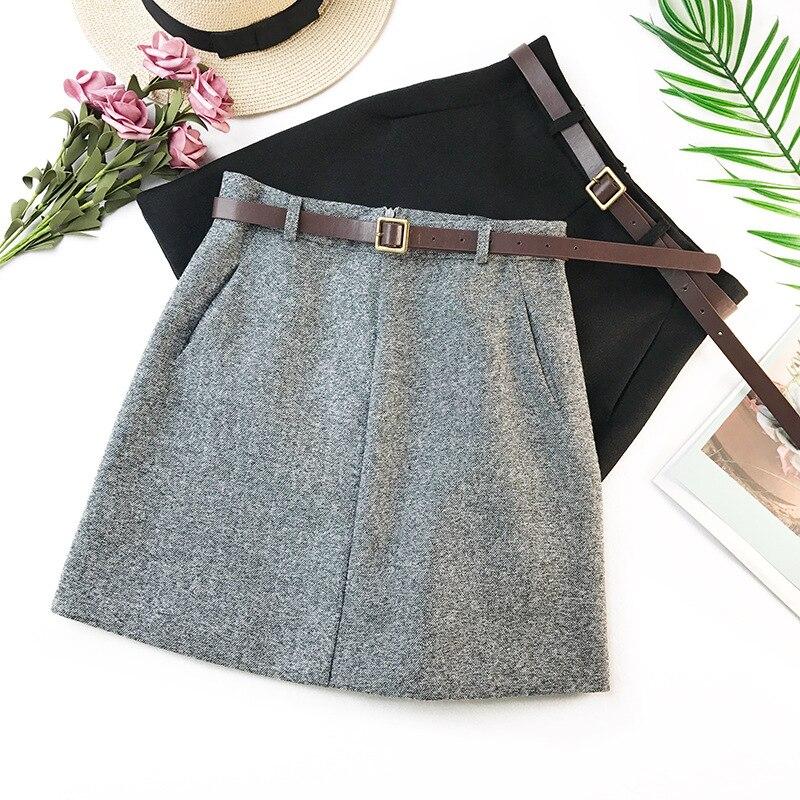 Wasteheart Frauen Mode Grau Schwarz Ployester Röcke Hohe Taille Plus Größe Große Größe bleistift Beiläufige Dünne Mini Rock Schärpen Reich