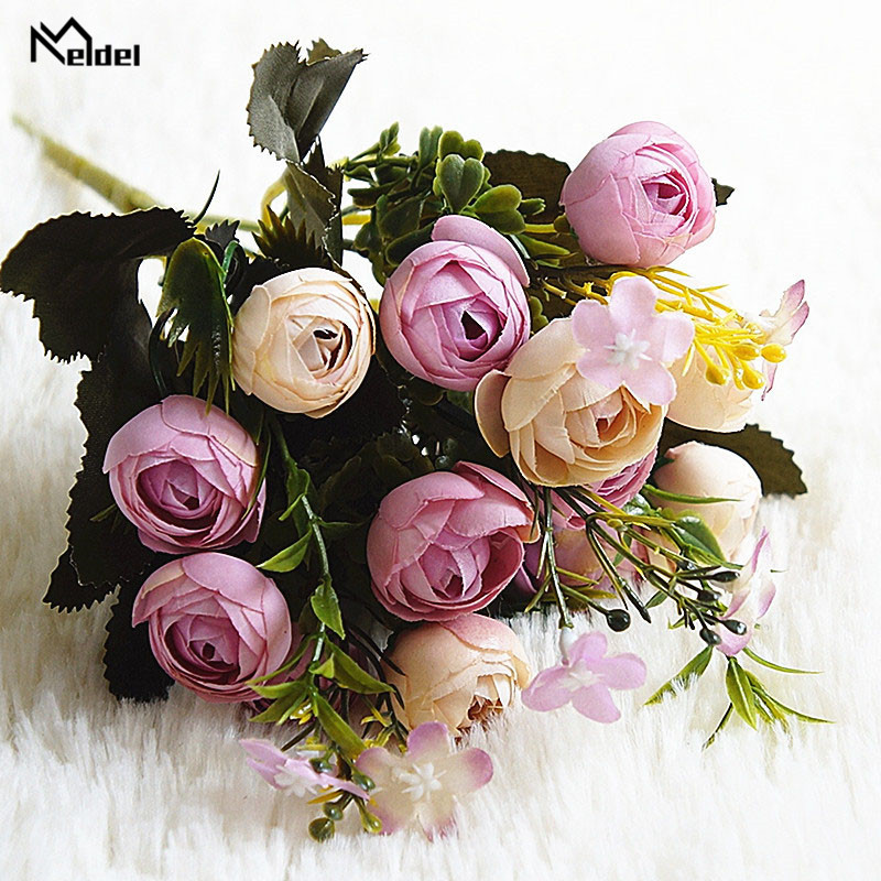 13 heads 1 bundle Silk roses Bride bouquet for Christmas home wedding new Year decoration fake plants artificial flowers (9)