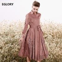 Новинка 2019 Весна Осень Мода Длинная траншея женский отложной воротник выдалбливают вышивка регулируемый пояс пальто