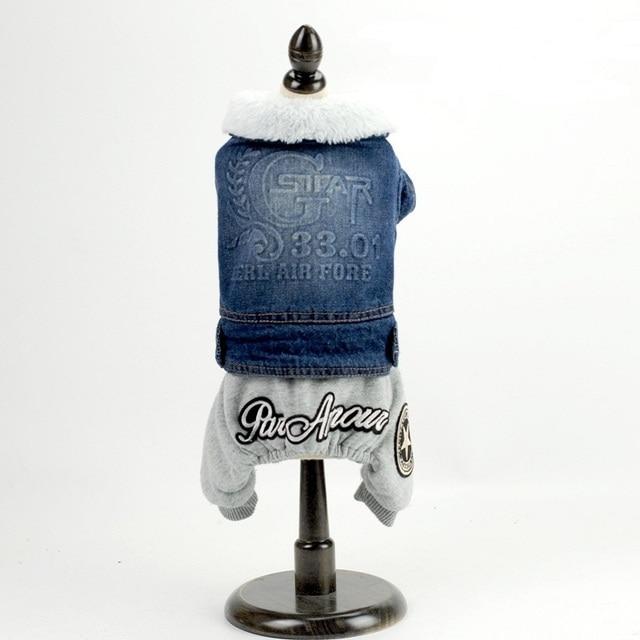 Warm Winter Dog Denim jumpsuits dog Coats Soft Cotton  Fleece  Wear Autumn Denim Jackets Winter Coats  Pets Suppliers Clothes