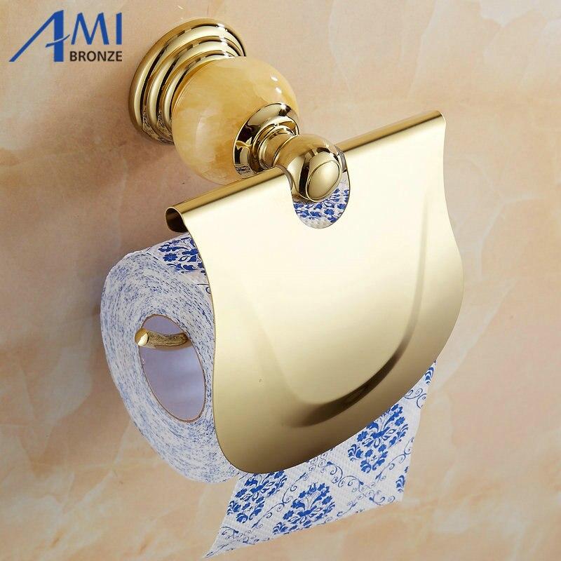 62 Jade Series Golden Polished Brass With Jade  Toilet Paper Holders Bathroom Accessories Paper Shelf Toilet Vanity Paper Rack