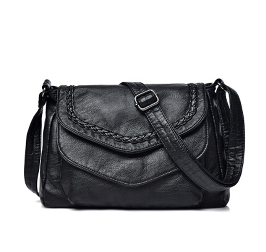 Fashion Women's Small Handbag Soft Leather Casual Shoulder Messenger Small Bag Simple Style Female Handbag Black Vhty76