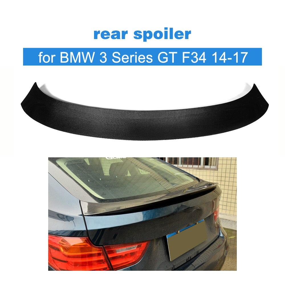 Carbon Fiber Rear Trunk Boot Wing Spoiler for BMW 3 Series GT F34 Hatchback 4-Door 2014-2017 Car Styling carbon fiber front bumper lip splitter spoiler for bmw 3 series gt f34 m sport bumper 4 door 14 17 grey frp 2pc 335i 340i gt