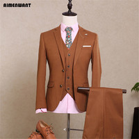 2017 Spring Fall Brown Mens Suits London Gentleman Fashion Vintage Designer Suit Male Bespoke Suits Boyfriend