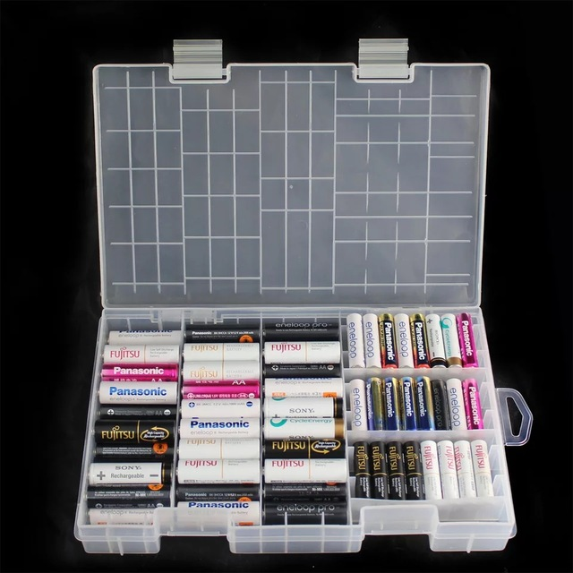 Beau Super Volume Transparent Plastic Battery Storage Box For Placed 100pcs AAA  AA Battery Holder Container Coverd