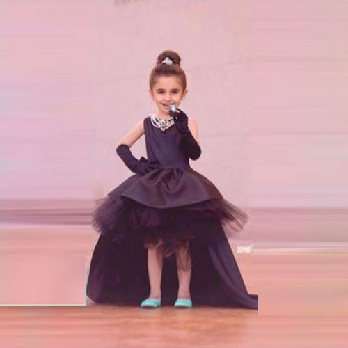 Black Sleeveless High Low Trendy flower tutu princess kids dresses for girls