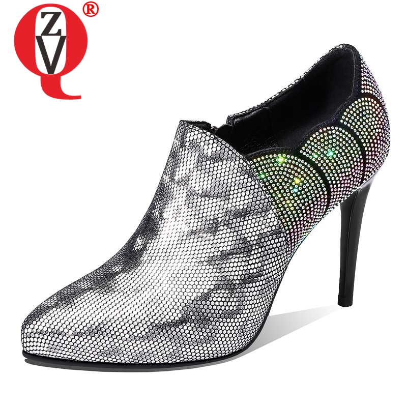ZVQ shoes women spring new fashion sexy genuine leather pointed toe women pumps outside super high thin heels zip ladies shoesZVQ shoes women spring new fashion sexy genuine leather pointed toe women pumps outside super high thin heels zip ladies shoes