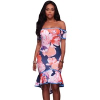 YSMARKET Sexy Bodycon Dress 2017 Multicolor Ethnic Floral Flower Print Dresses High Low Casual Beach Boho