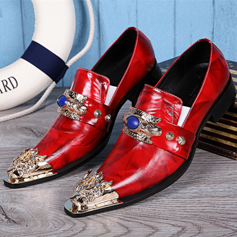 Demon Rubine Sapphire Brand Casual Red Shoes Man Dress Slip-On Vintage Metal Pointed Toe Fashion Genuine Leather Formal Solid new arrival black alligator genuine leather handmade metal tip spikes pointed toe slip on formal dress shoes sexy fashion mans