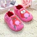 Las muchachas de la historieta del patrón del buho del bebé primeros caminante algodón suave para los niños zapatos niña zapatos talla 11 - 13 cm envío gratis