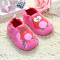 Meninas coruja dos desenhos animados padrão do bebê primeiros caminhantes crianças sapatos de algodão botas tamanho 11 - 13 cm