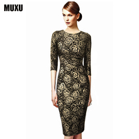 MUXU long sleeve gold glitter dress elegant floral dress party moda feminina summer pencil dress women jurken plus size vestidos