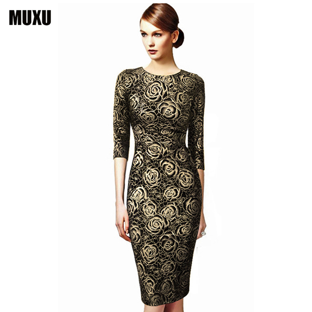 MUXU à manches longues or glitter robe élégant floral robe partie moda  feminina d été ef68f595093