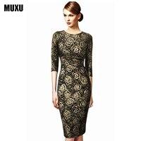 MUXU Long Sleeve Gold Glitter Dress Elegant Floral Dress Party Moda Feminina Summer Pencil Dress Women