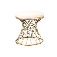 Round Metal Dressing Stool Living Room Leisure Chair Footstool