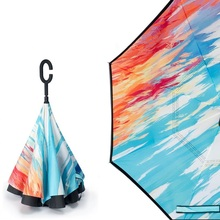 Colorful Double Layer Inverted Holidayli Windproof UV Protection Reverse Umbrella Travel for Car and Outdoor C-Shape