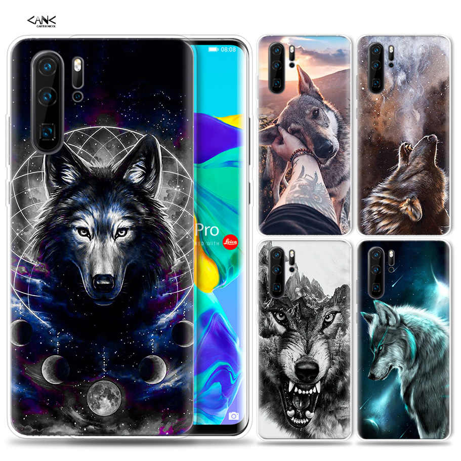 Case for Huawei P30 P20 P10 P9 Mate 10 20 Lite Pro Mobile Cell Phone Bag P Smart Z 2019 Plus Animal half wolf P8 P30Pro P20lite
