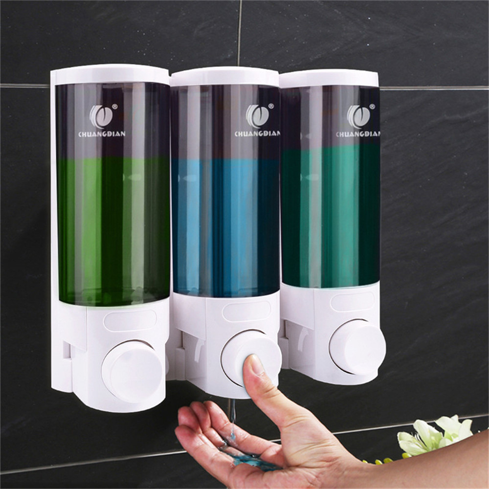 CHUANGDIAN 300ml Wall Mount Pump Lotion Liquid Soap Container Dispenser Triple Soap Dispenser Shampoo Box Home Hotel Bathroom chuangdian hotel auto induction free punching wall mount pump foam spray lotion drop liquid soap container dispenser shampoo box