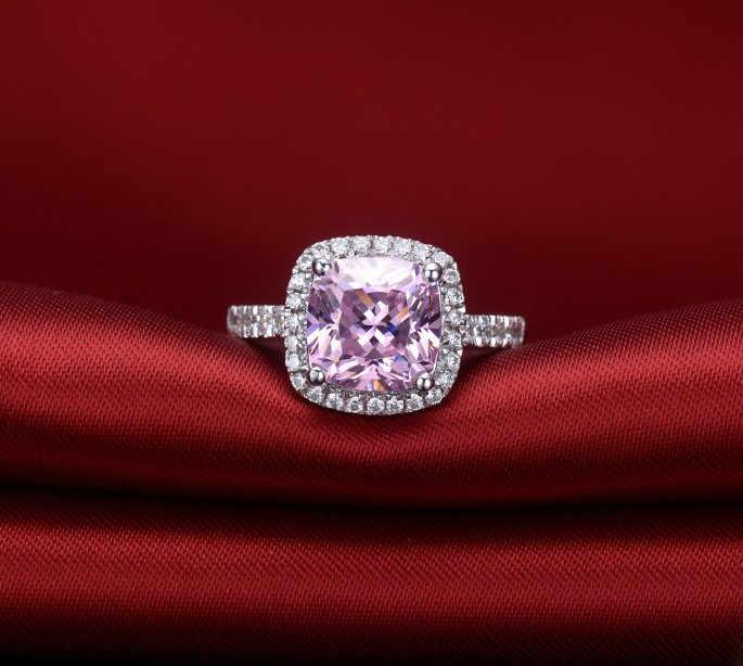 YINHED Marke Hochzeit Ring Stempel S925 Prinzessin Cut 4 Karat rosa CZ Diamant Verlobungsringe für Frauen Schmuck Geburtstagsgeschenk ZR117