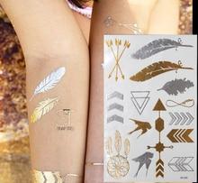 Cheap Sale 1pcs Design Swallows/Feather/Arrow Metallic Temporary Flash Tattoo Fake Chalker Tatoo Stickers On The Body